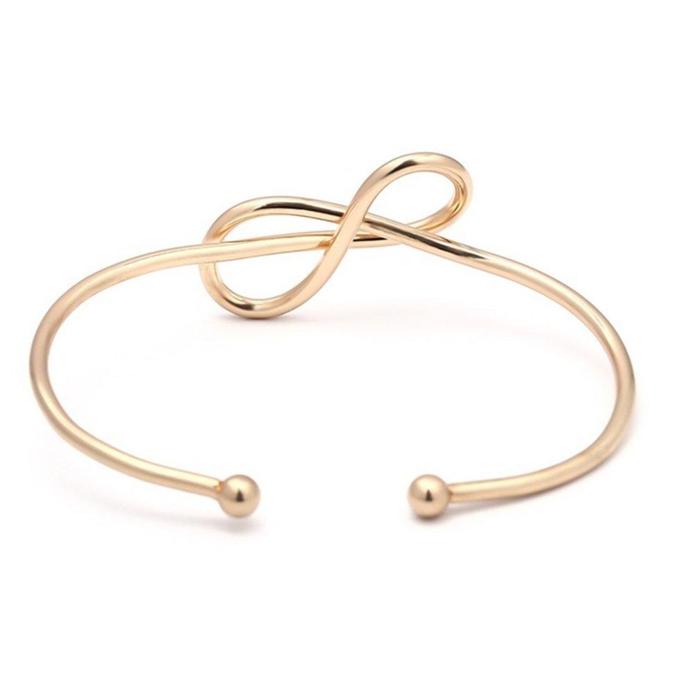 Fashion Women Simple Infinity 8-Shape Opening Bangle Bracelet Wrist Jewelry Gift