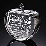 KATE POSH 4th Anniversary Gifts, 4th Wedding Anniversary Crystal Apple Fruit Paperweight and Keepsake