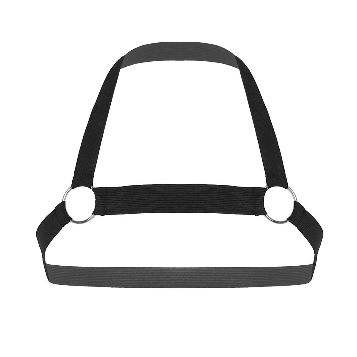 IEFIEL Men Nylon Halter Neck Elastic Body Chest Harness Costume Belt (One Size, Black E)