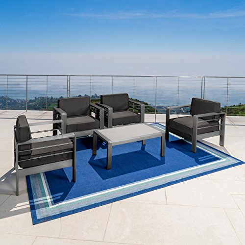 Crested Bay Patio Furniture | Outdoor Grey Aluminum 5 Piece Club Chair Chat Set with Dark Grey Water Resistant Cushions For Sale