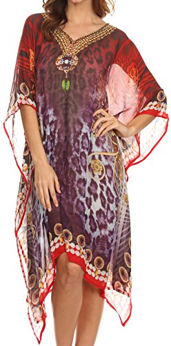 21655 Sakkas Tala Rhinestone Accented Multicolored Sheer Caftan Top / Cover Up - Red / Purple - OS
