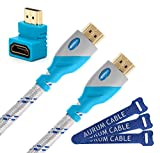 Aurum Classic Series - High Speed 2.0 HDMI Cable with Ethernet (40 FT) - Supports 3D & Audio Return Channel [Latest Version] + Right Angle Adapter and Velcro Cable Tie - 40 Feet