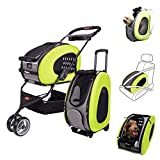 ibiyaya MULTIFUNCTION Pet Carrier + Backpack + CarSeat + Pet Carrier Stroller + Carriers with Wheels for dogs and cats ALL IN ONE (Green) For Sale