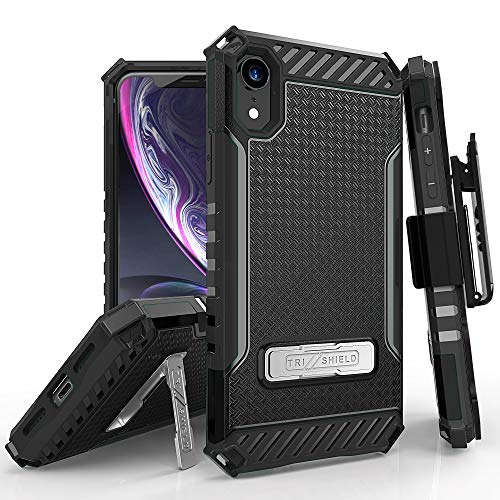 iPhone XR Case, TRISHIELD Rugged Cover with + [Belt Clip Holster] + [Built in Kickstand] iPhone XR 6.1 -Black from Beyond Cell