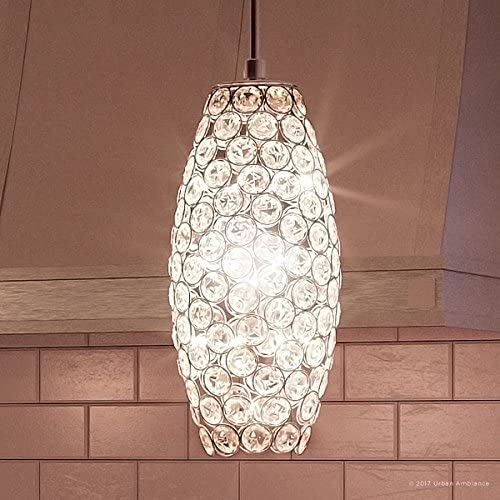 Luxury Crystal LED Pendant Light, Small Size 11 H x 4 W, with Modern Style Elements, Chrome Finish and Suspended Crystal Shade, Integrated LED Technology, UQL2591 by Urban Ambiance