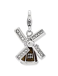925 Sterling Silver Rh Enameled 3 D Windmill Lobster Clasp Pendant Charm Necklace Travel Transportation Fine Jewelry Gifts For Women For Her