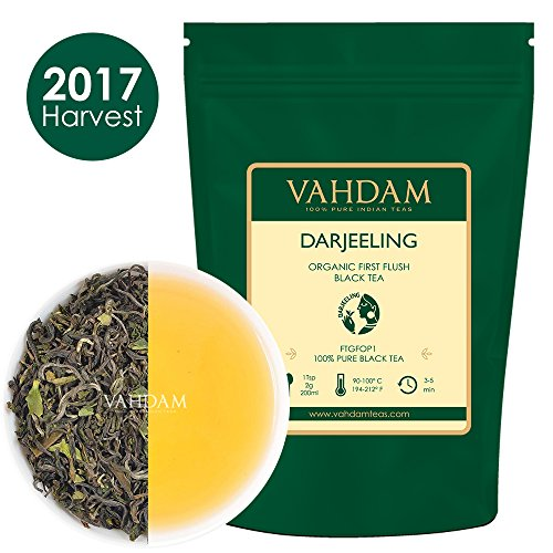 2017 First Flush Organic Darjeeling Tea - Makes 50 Cups, 3.53oz, Loose Leaf Black Tea - Flowery, Aromatic & Delicious, Picked, Packed & Shipped Direct from India, Champagne of Teas, Mellow & Fragrant