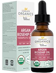 Argan Rosehip Oil Therapeutic Serum - Moisturizing Facial & Body Care - Lavender, Frankincense & Patchouli Essential Oils - Reduces Lines & Relieves Dryness - Complete Organics by InstaNatural - 1 OZ