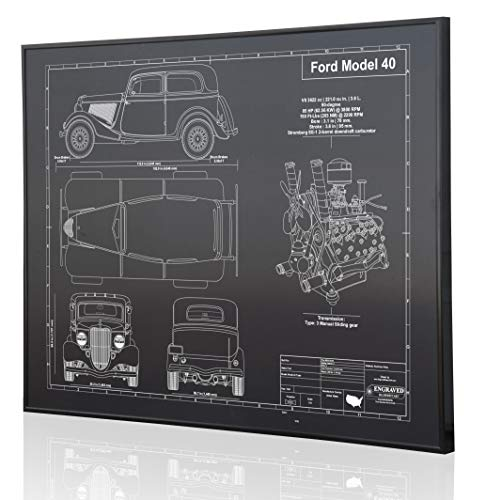 Ford Model 40 Sedan (1934) Blueprint Artwork-Laser Marked & Personalized-The Perfect Ford Gifts ()