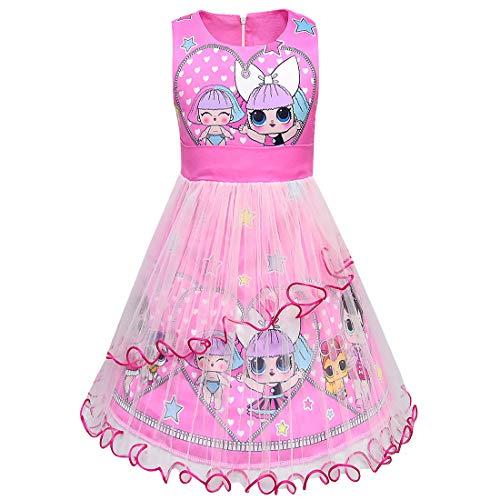 ALAMing LOL meisje jurk zomer ronde hals mouwloos grote dot cartoon korte mouwen 3-8Years