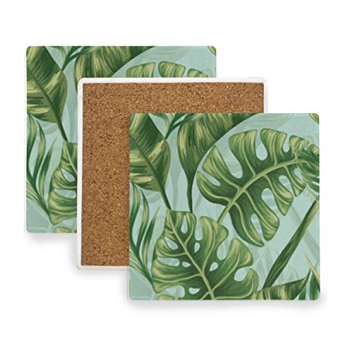 Watercolor Tropicalleaf Coasters, Prevent Furniture from Dirty and Scratched, Square Wood Coasters Set Suitable for Kinds of Mugs and Cups, Living Room Decorations Gift Set of 4