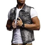 Men Fashion Denim Jacket, Familizo New Men's Autumn Winter Destroyed Vintage Denim Jacket Casual Waistcoat Holiday Vacation Blouse Comfortable Vest Top Black