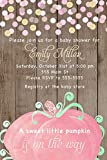 30 Invitations Watercolor Pumpkin Pink Green Wood Rustic Invite Girl Baby Shower Birthday Party Gold Confetti Personalized Cards + 30 White Envelopes