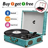 CMC Portable Bluetooth 3 Stereo Speed Turntable with Built in Speakers, Vintage...