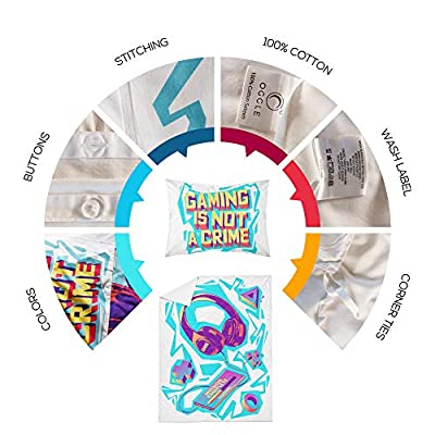 Oggle 3-Piece Gamer Duvet Cover, 100% Washed Cotton, Kids Bedding Set, Ultra Soft and Easy Care, Colorful Modern Game Design with Headset, Phone and Cool Slogan (Style 1, Twin): Home & Kitchen