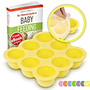 KIDDO FEEDO Baby Food Prep & Storage Container with Silicone Clip-On Lid - BPA Free & FDA Approved - Multipurpose Use - FREE eBook by Award-winning Author/Dietitian - Yellow
