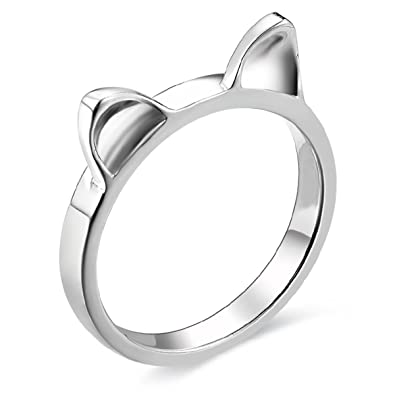 3218fc70a JEWME 925 Sterling Silver Women Kitty Cat Ear Ring Band Tiny Finger Jewelry  3