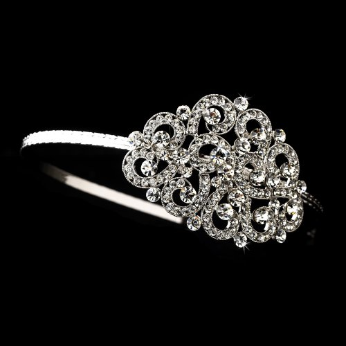 - Kiara Silver Side Accented Wedding Bridal Tiara Headband