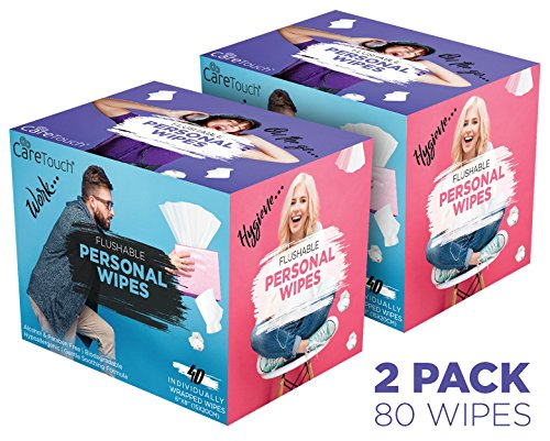 - Care Touch Flushable Personal Wipes for Men and Women, Pack of 2, 80 Individually Wrapped Wet Wipes