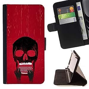Momo Phone Case / Flip Funda de Cuero Case Cover - Cráneo Typewriter fresca;;;;;;;; - Samsung Galaxy J3 GSM-J300