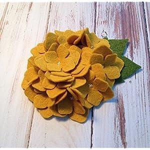 2 Wool Felt Old Gold Hydrangea Felt Flowers 2