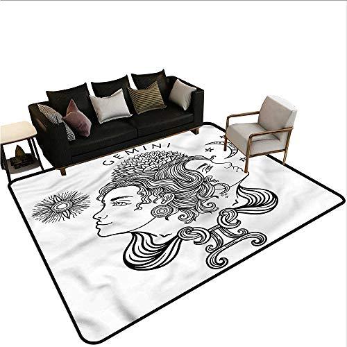 Zodiac Gemini,Anti-Slip Coffee Table Floor Mats 64