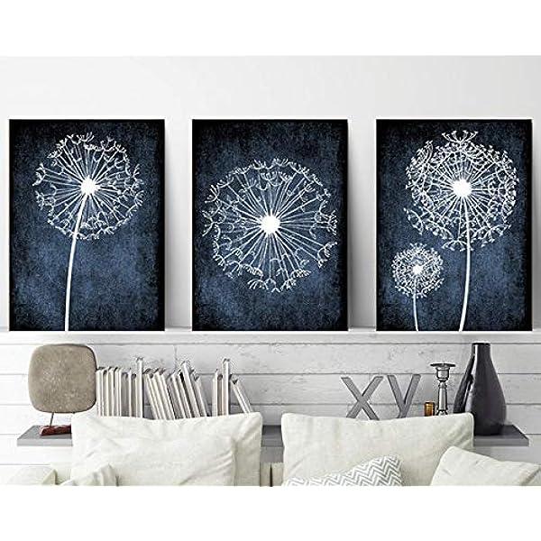 Amazon Com Dandelion Wall Art Navy Bedroom Pictures Dandelion Art Canvas Or Prints Navy Bathroom Decor Dorm Room Decor Set Of 3 Navy Home Decor 8x10 Inch Posters Prints