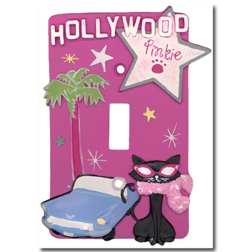 Black Cat Pinkies Palace Goes Hollywood Single Switchplate