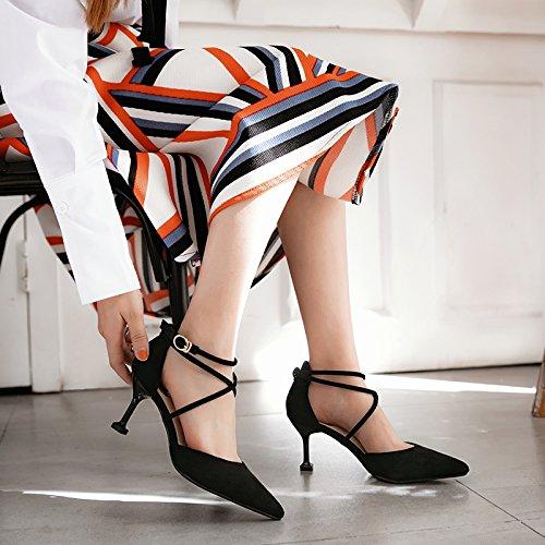 Ranurada 36 Tacn Satn Primavera Alto Negra Con La Zapatos Punta Solo Mujer De Correa Chica Fino Negro 7cm Zapatos wxqZIYwgU