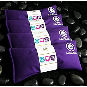 Namaste Yoga Eye Pillows | Lavender Eye Pillow For Yoga | Set of 4 | Purple Cotton By Happy Wraps