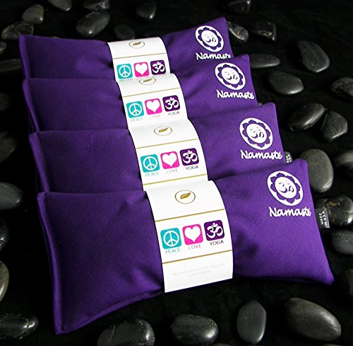 Happy Wraps Namaste Yoga Eye Pillows – Lavender Eye Pillows for Yoga – Weighted Aromatherapy Eye Pillow Mask for Yoga – Stress Relief and Relaxation Gifts Hot Cold Therapy – Set of 4 – Purple Cotton