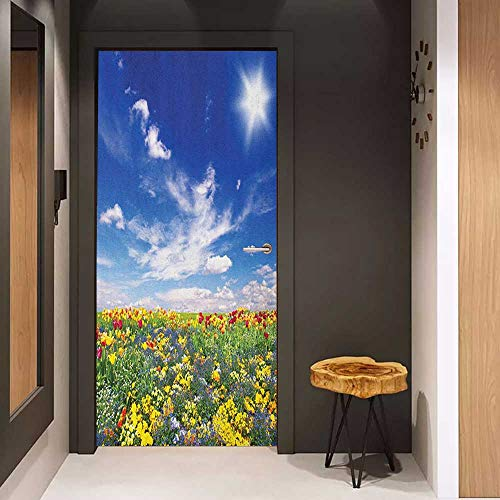 Onefzc Door Wall Sticker Flower Flowers Meadow and Cloudy Sky Nature Landscape Print Vivid Sun Springtime Artistic Mural Wallpaper W36 x H79 Multicolor