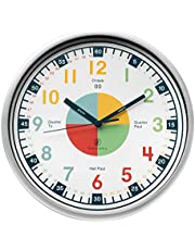 Telling Time Teaching Clock. Kids Room, Playroom Décor Analog Silent Wall Clock. Great Visual Learning Clock Time Resource. Perfect Educational Tool for Homeschool, Classroom, Teachers and Parents.