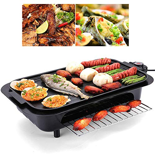 CHUDAN 2200W Portable Electric Grill, Multifunctional Electric Grill with Variable Temperature Setting, Removable, Non-Stick Grill Surface, windscreen, Grease drip Tray,A