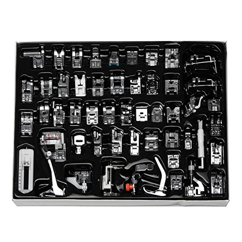 Professional Domestic Sewing Presser Foot 52pcs Feet Set Include Low Shank Adapter and Metal Darning/Free Motion Presser Foot for Brother, Singer, Babylock, Janome, Low Shank Machine by Windman by Windman