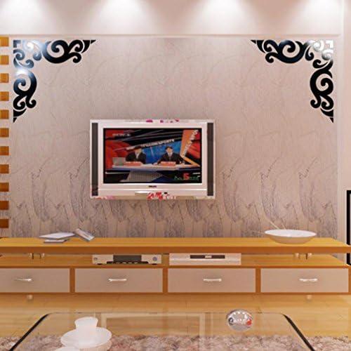 kingko/® Diagonal Coin ligne Miroir acrylique Autocollant Mural Diy D/écoration Acrylique autocollant d/écoratif silver