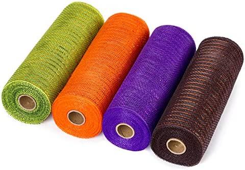 [해외]LaRibbons 데코 폴리 메시 리본 - 25.4cm x 76.2cm - 금속 호일 오렌지실버블랙퍼플 세트 화환 스웨그 및 장식용 - 4팩 / LaRibbons Deco Poly Mesh Ribbon - 10 inch x 30 feet Each Roll - Metallic Foil OrangeBlackPurpleGreen Set for Wreaths,...