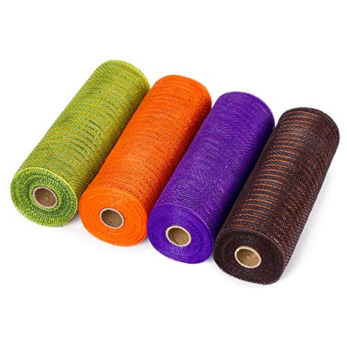 LaRibbons Deco Poly Mesh Ribbon - 10 inch x 30 feet Each Roll - Metallic Foil Orange/Black/Purple/Green Set for Wreaths, Swags and Decorating - 4