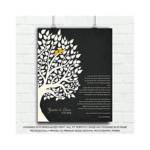 E.E. Cummings Personalized Gift for Anniversary 1st Paper Gift for Couple Family Wedding Poem Tree First 2nd 10th Gift for Mom and Dad - 8x10 Unframed Custom Paper Art Print (1st Year Wedding Anniversary Poems For Husband)