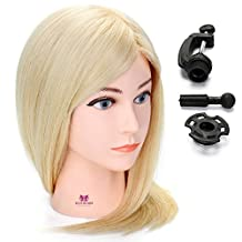"Neverland Beauty 18"" (45cm) Hairdressing Cosmetology Mannequin Manikin Training Head Cutting Braiding Practice Mannequin Head 100% Real Human Hair With Clamp Stand #613"
