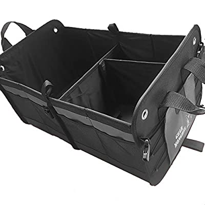 Premium Quality Car Trunk Organizer – Custom Heavy Duty Design, 14 Pockets, Collapsible and Foldable, Exclusive Tie-Down Loops, Waterproof, Removable Divider, Rigid Walls, Best for Vehicle & Home