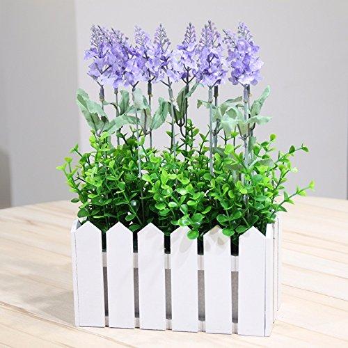 Lcoran Flores Artificiales Lavanda Establecida Terraza Salón