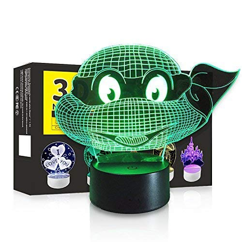 3D LED Night Light Touch Table Desk Optical Illusion Lamp, 7 Colors Changing Lights, Boys Girls Birthday Gift (Ninja Turtles) -