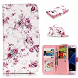 Galaxy S7 Flip Case, Samsung Galaxy S7 Wallet Cover,GreenDimension Slim Relief Peony Pattern Folio PU Leather Magnet Stand Scratch Resistant [Soft Silicone Bumper] Cover with Photo Holder 9 Card Slots