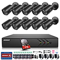 ANNKE 16 Channel Security Camera System 1080P Lite DVR with 2TB HDD and (10) Weatherproof Bullet Cameras with 65ft Night Vision, Remote Access