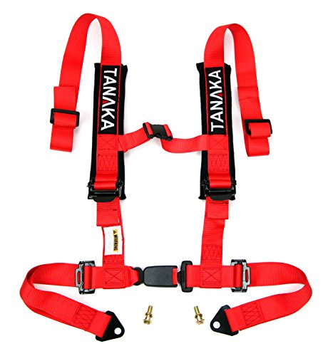 Tanaka Phantom Series Buckle 4 Point Safety Harness Set with Ultra Comfort Heavy Duty Shoulder Pads (Red) 4 Point Seat Belt Harness