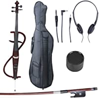 Cecilio CECO-3DW Ebony Fitted Silent Electric Cello, Style 3, Metallic Mahogany, 4/4 (Full Size)