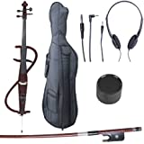 Cecilio 4/4 CECO-3DW Mahogany Metallic Electric Cello with Ebony Fittings in Style 3 (Full Size)