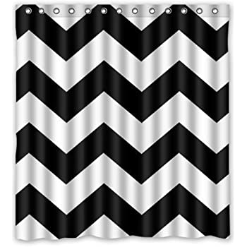 YEHO Art Painting Black And White Chevron Zigzag Pattern Waterproof  Bathroom Shower Curtains Shower Rings Included
