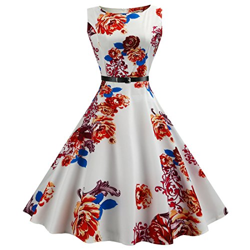 (Women Dresses Godathe Women Dress Hepburn Style Retro Sleeveless Printed Belt Slim Dress)